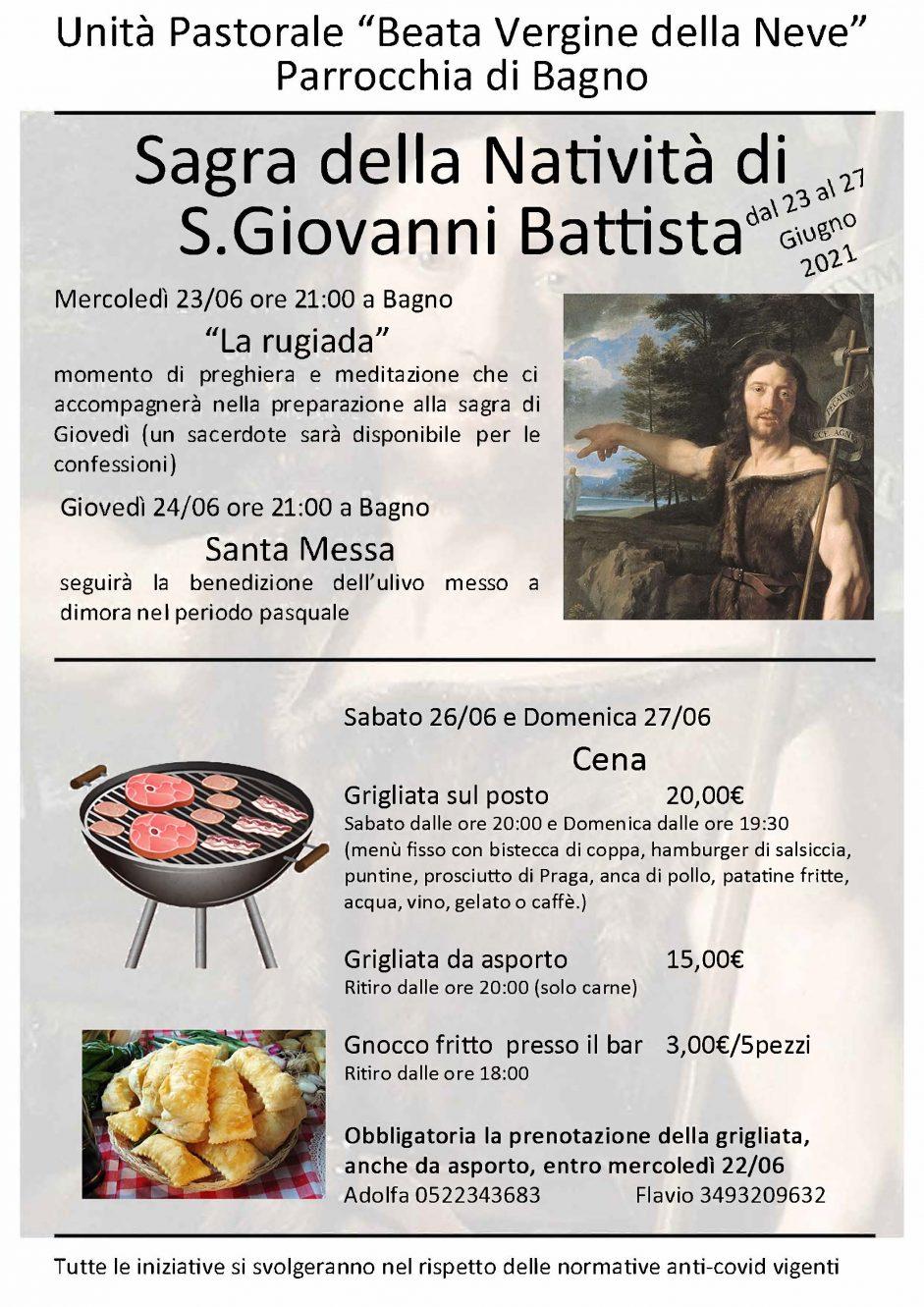 Sagra S.Giovanni Battista 2021, Bagno