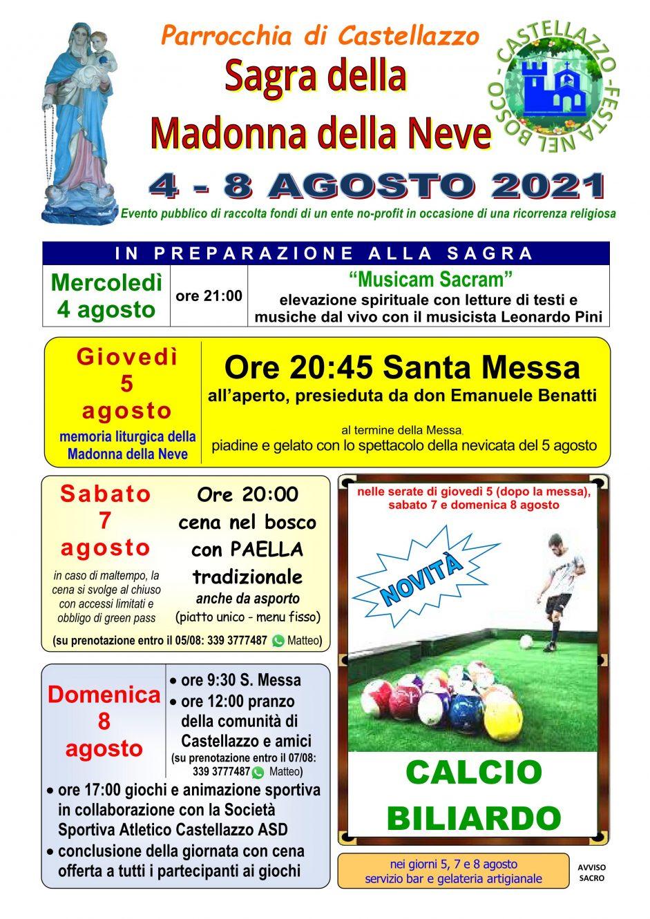 Sagra 2021 della Madonna della Neve a Castellazzo dal 4 all'8 agosto